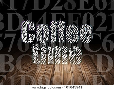 Timeline concept: Coffee Time in grunge dark room