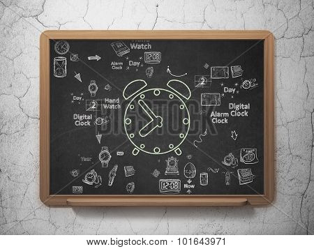 Time concept: Alarm Clock on School Board background