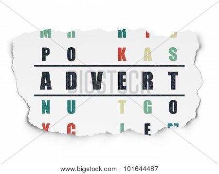Marketing concept: word Advert in solving Crossword Puzzle