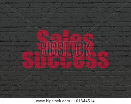 Advertising concept: Sales Success on wall background