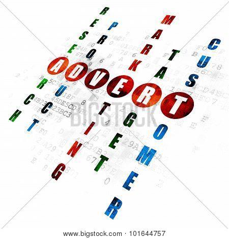 Advertising concept: word Advert in solving Crossword Puzzle