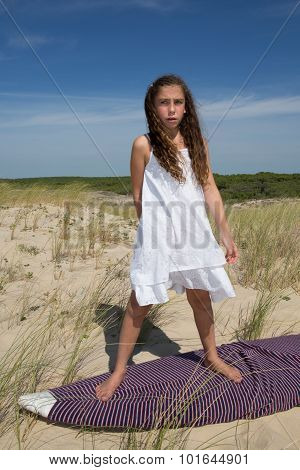 Girl Standing On Surf