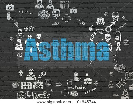 Medicine concept: Asthma on wall background