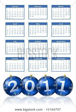 Stock photo : 2011 calendar with blue shiny christmas balls