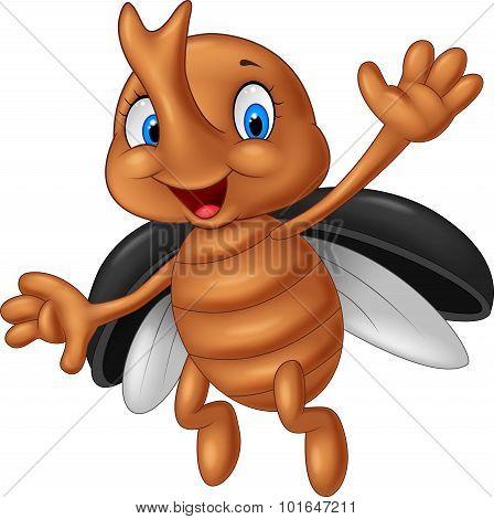 Cartoon stag beetle. vector illustration