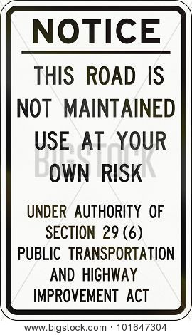 Road Not Maintained Notice In Canada