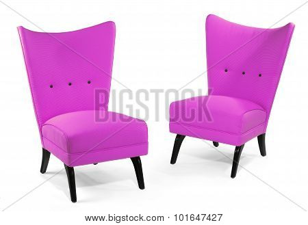 Pair Antique Upholstered Retro Chair  Isolated On White
