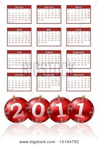 2011 calendar red. Stock photo : 2011 calendar with red and shiny christmas balls