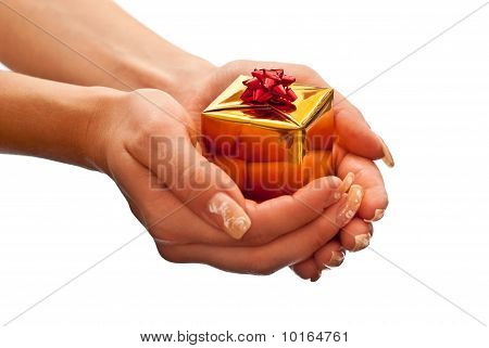 Yellow Gift Box In Woman's Hand