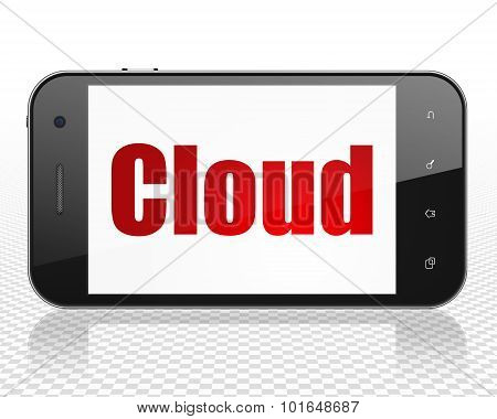Cloud technology concept: Smartphone with Cloud on display