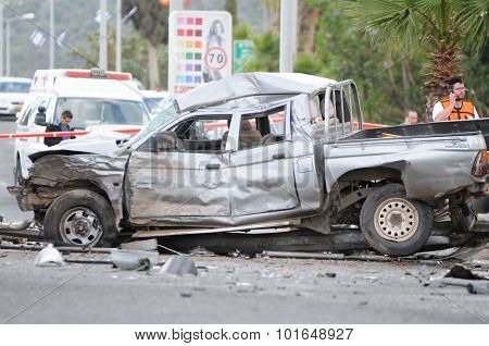 Crashed car (pickup trucks) in a fatal car crash accident
