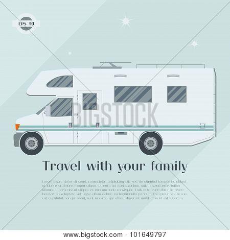 Modern flat camper van.