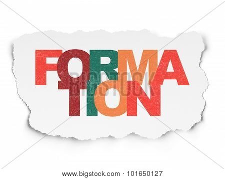 Education concept: Formation on Torn Paper background