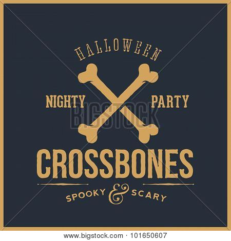 Abstract Vector Retro Halloween Card or Label. Cross Bones Illustration with Typography. Good for Po