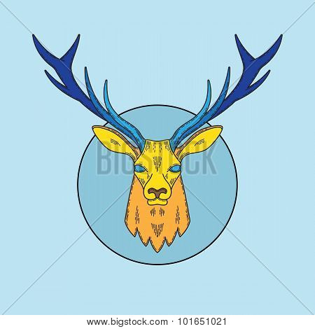 Abstract Vector Line Style Deer Face Illustration in the Circle.