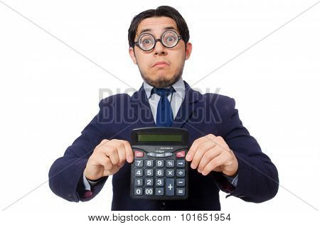 Funny man with calculator isolated on white