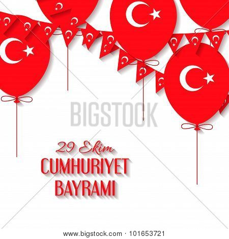 Background with a garland from Turkish flags, balloons vector illustration and an inscription in Tur