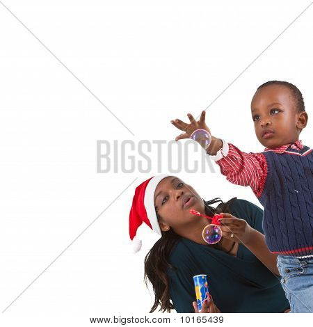 Happy Black Baby Boy With Mom