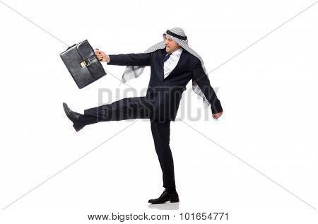 Arab businessman rushing isolated on white