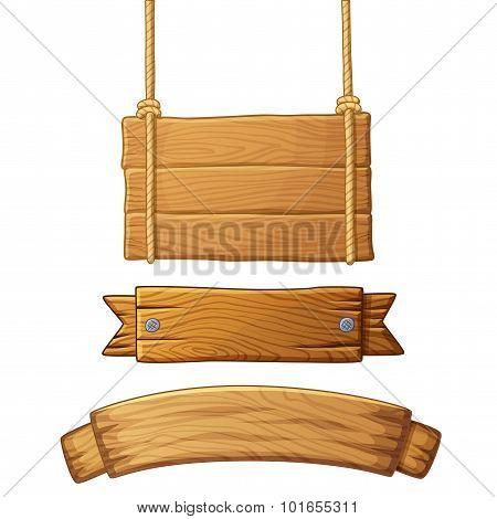 Set of light wooden banners. Vector illustration.