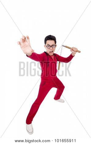 Funny sportsman with nunchuks isolated on white