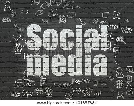 Social media concept: Social Media on wall background