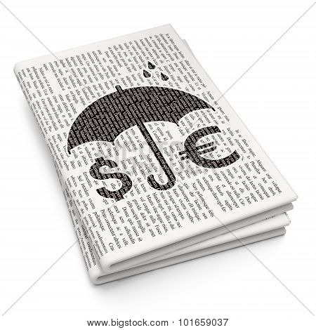 Insurance concept: Money And Umbrella on Newspaper background