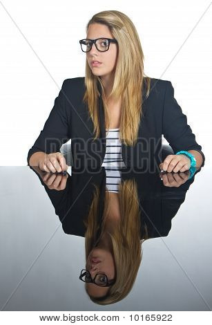 Young Business Teenage Blonde Girl