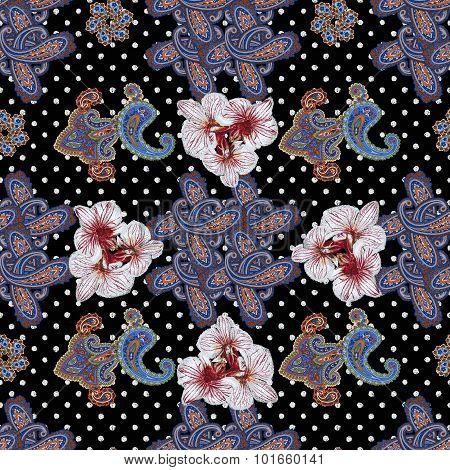 Traditional ornamental seamless background. Paisley design