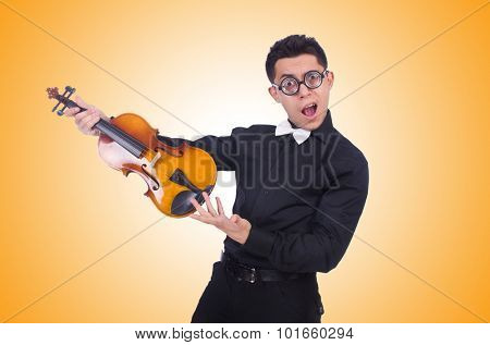 Funny violin player on white