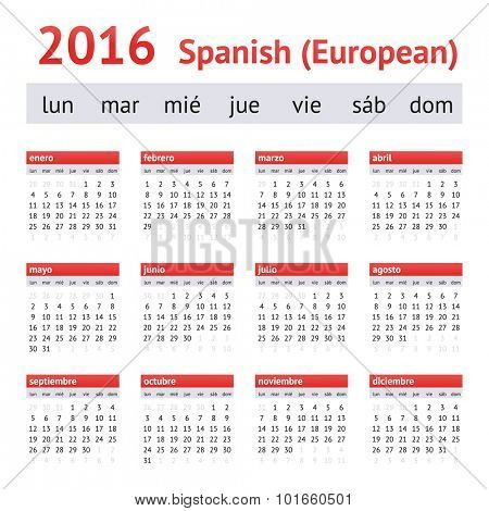 Calendar 2016 (Spain). European Spanish Calendar. Week starts on Monday