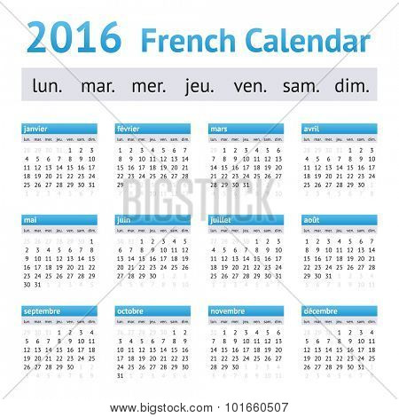 2016 French European Calendar. Week starts on Monday