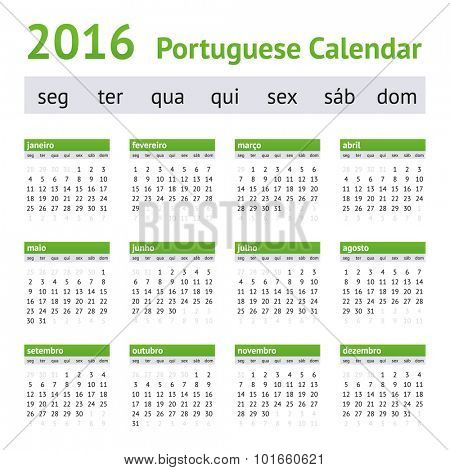 2016 Portuguese European Calendar. Week starts on Monday
