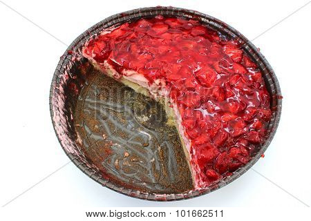 Round Strawberry Flan With Cut Pieces