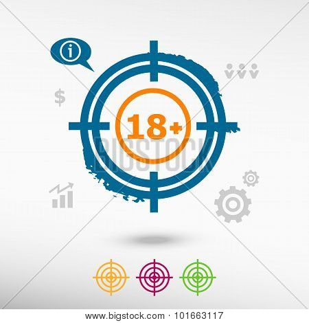 18 Plus Years Old Sign. Adults Content Icon On Target Icons Background