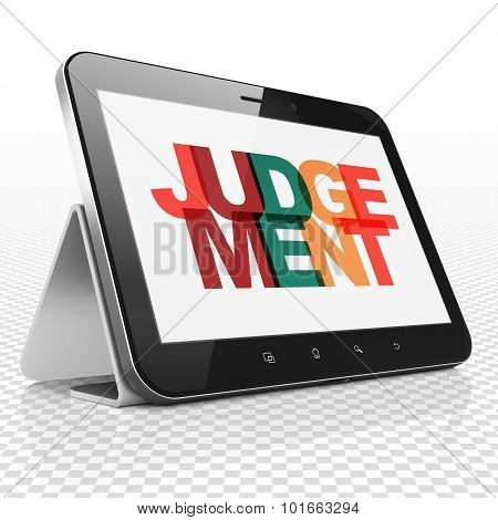 Law concept: Tablet Computer with Judgement on  display