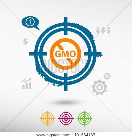 Without Genetically Modified Food Symbol On Target Icons Background