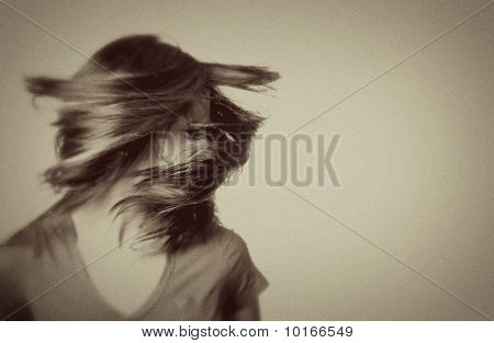 Woman Shaking Her Hair - Vintage Style