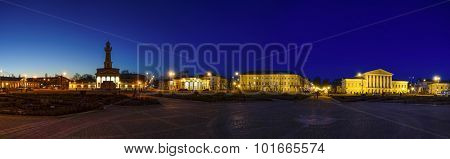 Nighttime panoramic view of Susanin Square (central square) in Kostroma, Russia