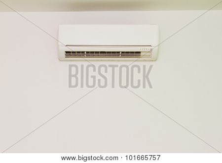 White Color Air Conditioner Machine Isolated On White Background.