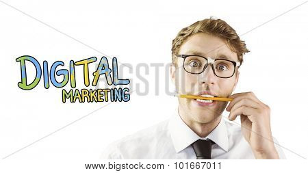 Geeky businessman biting a pencil against digital marketing