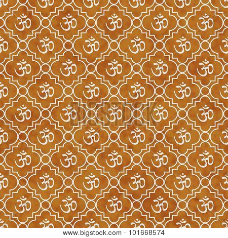 Orange And White Aum Hindu Symbol Tile Pattern Repeat Background
