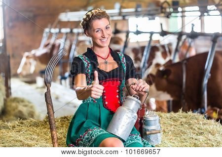 Bavarian woman with sexy Dirndl dress, milk can and pitchfork in cowhouse
