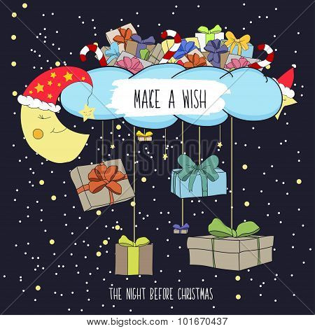 Cute Cartoon Illustration The Eve Of Merry Christmas With Gifts. Make A Wish On Christmas Night. Vec