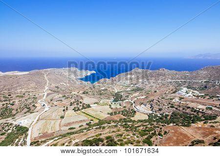 Scenic Landscape View And Ocean Coastline On Milos Island, Greece