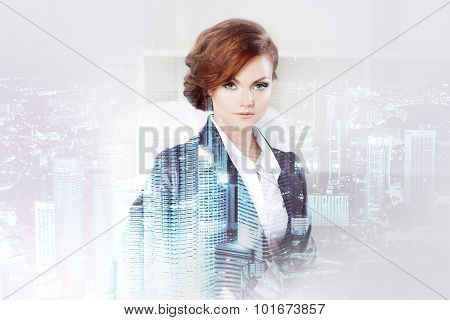 Double exposure concept with business woman and  metropolis on background. With special lighting eff