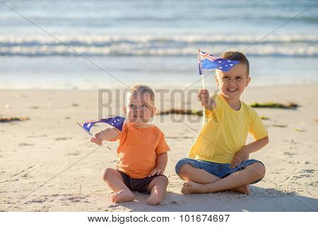 Kids With Flags Of Australia