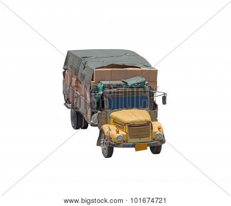 Commercial Delivery Truck On White Isolate Background With Clipping Path.