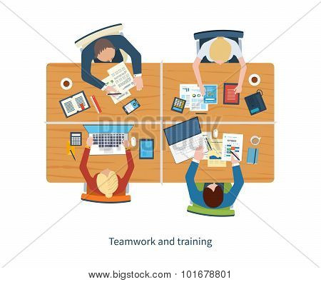 Flat design illustration concepts for business analysis on meeting, team work, financial report, pro