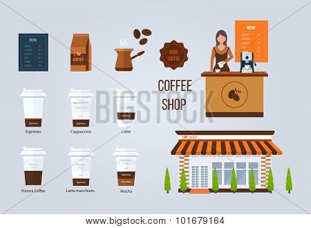 Coffee shop illustration design elements. Young shop assistant serving a cup of coffee. Coffee flat